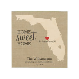 Florida State Map Custom Family Name Established Wood Print