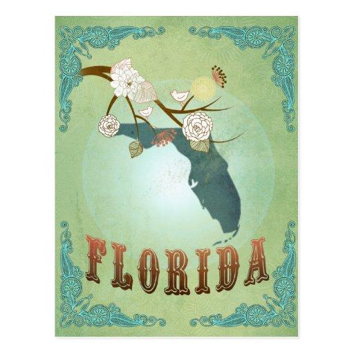 Florida State Map – Green Postcard
