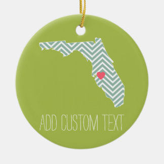 Florida State Map Outline with Custom Heart & Text Double-Sided Ceramic Round Christmas Ornament