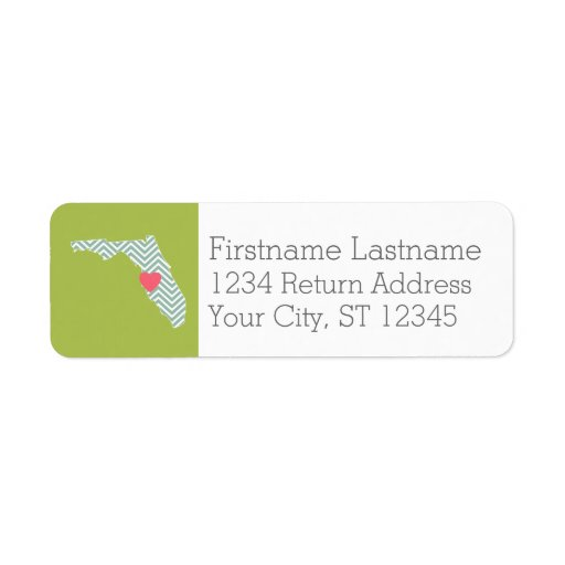 Florida State Map Outline with Custom Heart & Text Custom Return Address Label