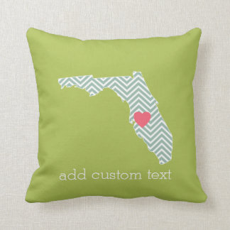 Florida State Map Outline with Custom Heart & Text Pillow
