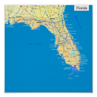 Florida State Map Posters Zazzle - Fl state map