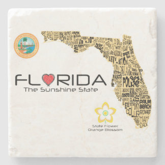 Florida State map with all counties listed coaster