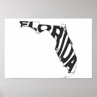 Florida State Name Word Art Black Poster