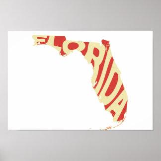Florida State Name Word Art Yellow Poster