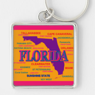 Florida State Pride Map Silhouette Keychain