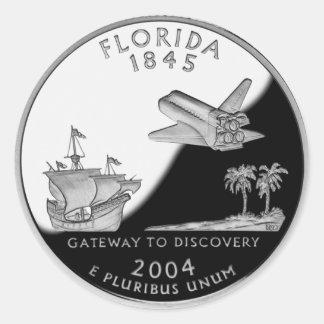 Florida State Quarter Round Sticker