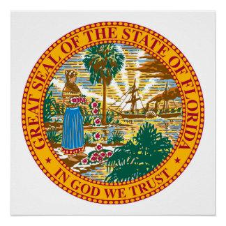 Florida state seal america republic symbol flag poster