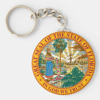 Florida State Seal and Motto Basic Round Button Keychain