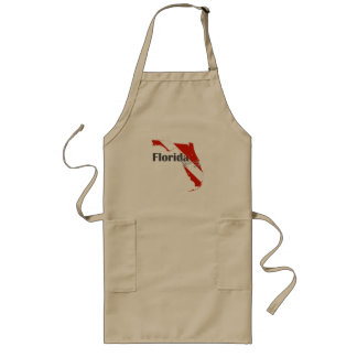 Florida State Silhouette Diving Flag with Text Long Apron