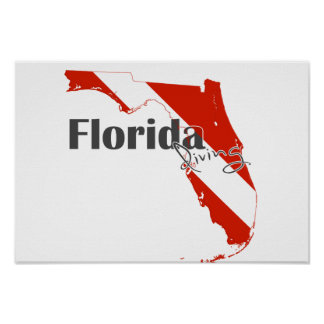 Florida State Silhouette Diving Flag with Text Poster