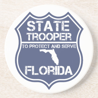 Florida State Trooper To Protect And Serve Sandstone Coaster