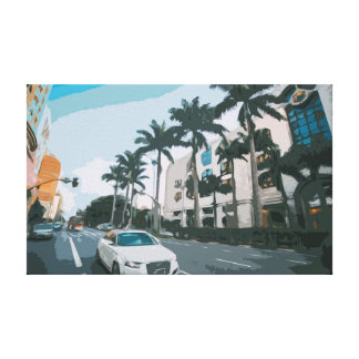 Florida Street with Palms and Traffic Canvas