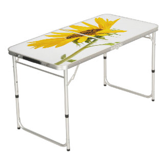Florida Sunflower Standing on White Background Pong Table