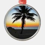 Florida Sunrise with Palm Tree in Foreground Christmas Ornament