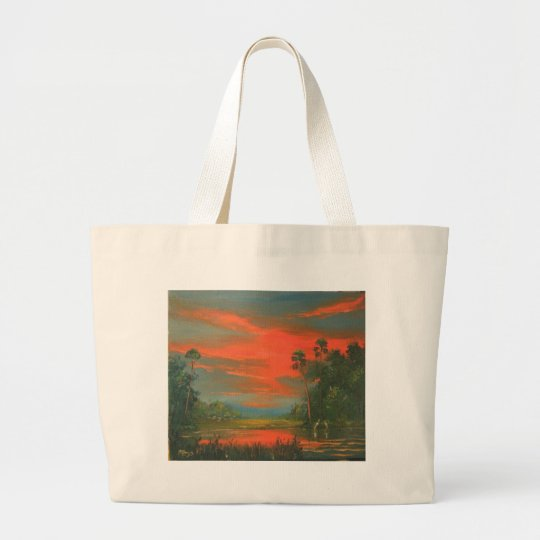 Florida Sunset 'Fire Sky' in the Wilderness Large Tote Bag