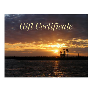 Florida Sunset Gift Certificate Postcard