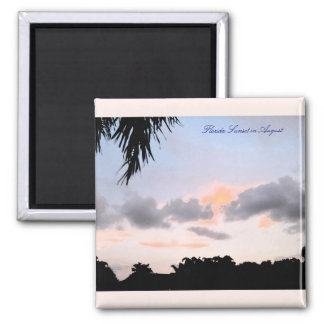 Florida Sunset in August square magnet