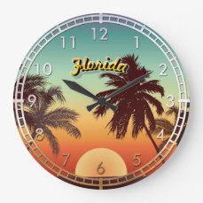 Florida Sunset Large Clock