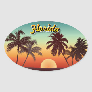 Florida Sunset Oval Sticker