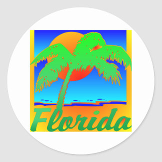 Florida Sunset Palm Tree Classic Round Sticker