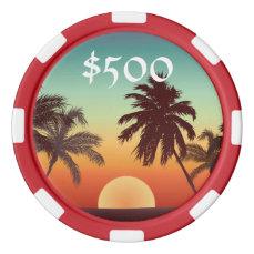 Florida Sunset Poker Chips Set