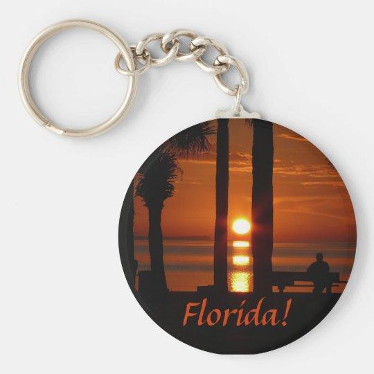 Florida! Sunset Thru 2 Palm Trees Keychain