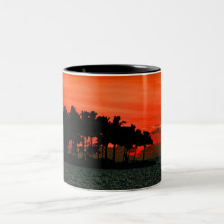 Florida sunset with palm trees Two-Tone coffee mug