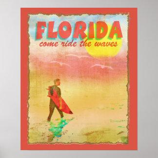 Florida Surfer Vintage Style Poster