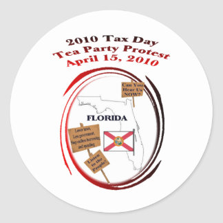 Florida Tax Day Tea Party Protest Classic Round Sticker