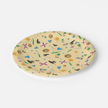 Beach Themed Florida the sunshine state famous items paper plate