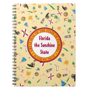 Beach Themed Florida the sunshine state famous items spiral notebook
