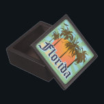"Florida The Sunshine State Jewelry Box<br><div class=""desc"">Florida tropical beach vacation tourism souvenir t-shirts and gifts. Mementos for your trip to the beautiful state of Florida, or gear the the proud native Floridians! Cool retro vintage style Florida graphic design logo. Visit Florida. Orlando, Miami, Destin, Fort Myers, Fort Lauderdale, St Augustine, Clearwater Beach, Cocoa Beach, Panama City...</div>"