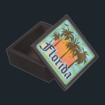 """Florida The Sunshine State Jewelry Box<br><div class=""""desc"""">Florida tropical beach vacation tourism souvenir t-shirts and gifts. Mementos for your trip to the beautiful state of Florida, or gear the the proud native Floridians! Cool retro vintage style Florida graphic design logo. Visit Florida. Orlando, Miami, Destin, Fort Myers, Fort Lauderdale, St Augustine, Clearwater Beach, Cocoa Beach, Panama City...</div>"""