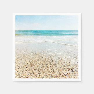 Florida Tropical Beach Sand Ocean Waves Sea Shells Paper Napkin