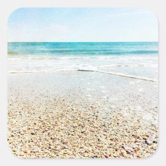 Florida Tropical Beach Sand Ocean Waves Sea Shells Square Sticker