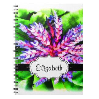 Florida Tropical Garden Blue Bromeliad Aechmea Notebook
