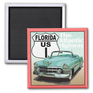 Florida US Route 1 - The Atlantic Highway 2 Inch Square Magnet