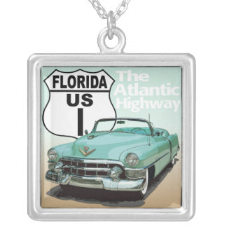 Florida US Route 1 - The Atlantic Highway Square Pendant Necklace