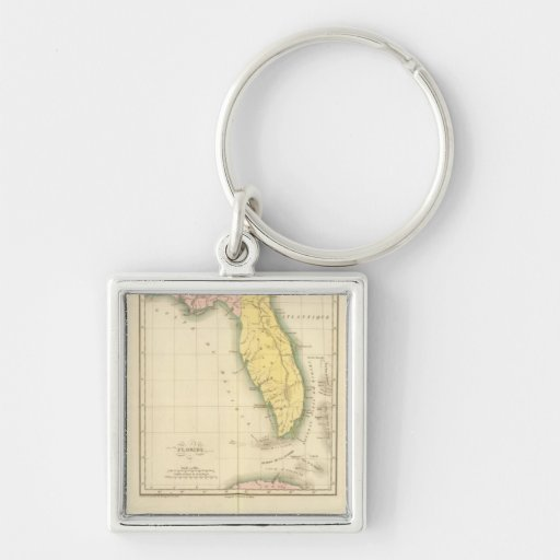 Florida US Silver-Colored Square Keychain