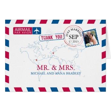 labellarue FLORIDA USA & GERMANY Airmail Wedding Thank You Card