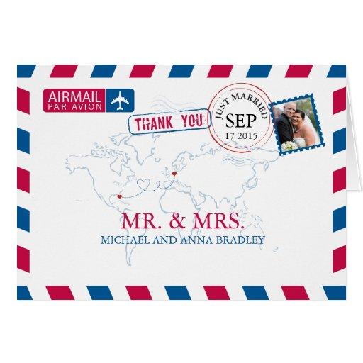 Florida Usa Germany Airmail Wedding Thank You Card Zazzle
