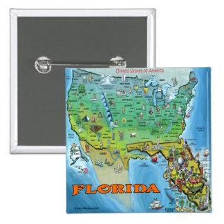 Florida USA Map 2 Inch Square Button