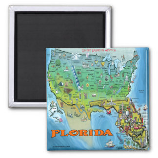 Florida USA Map 2 Inch Square Magnet