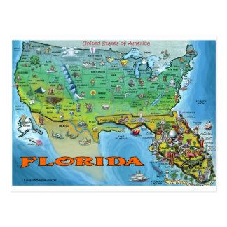Florida USA Map Postcard