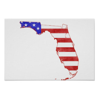 Florida USA silhouette state map Poster