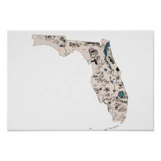 Florida Vintage Picture Map Poster