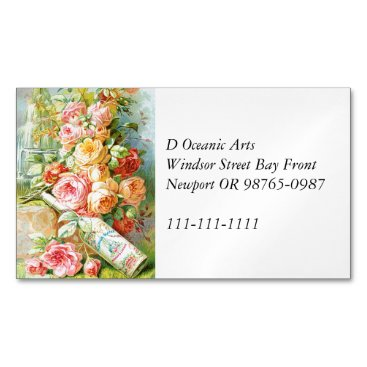 USA Themed Florida Water Cologne with Cabbage Roses Business Card Magnet
