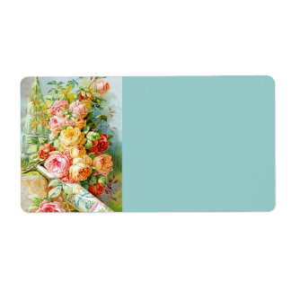 Florida Water Perfume Label with Cabbage Roses Personalized Shipping Label
