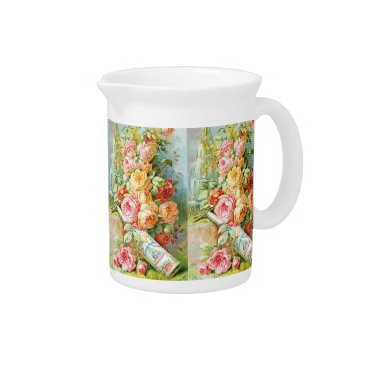 USA Themed Florida Water Perfume with Cabbage Roses Beverage Pitcher